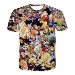 Dragon Ball Z Anime Manga Characters Full Print T-Shirt