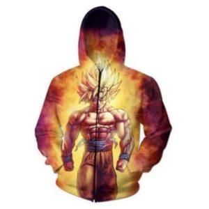 SSJ2 Son Goku Super Saiyan 2 Flame Fire 3D Hoodie