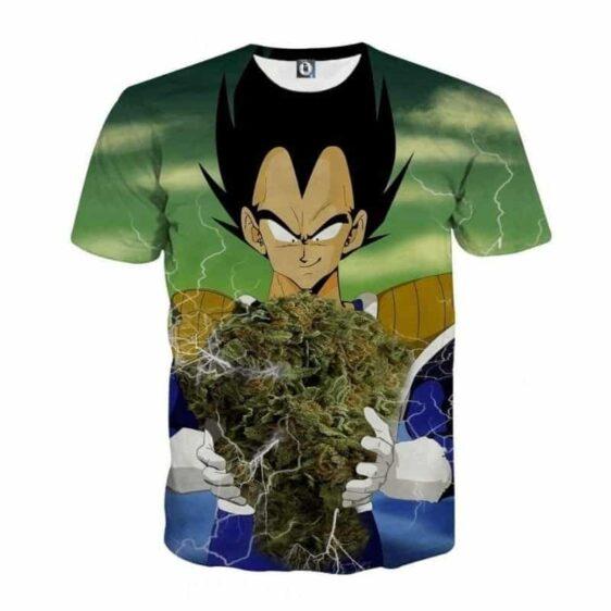Vegeta Smokes Weed Large Marijuana Nug T-Shirt