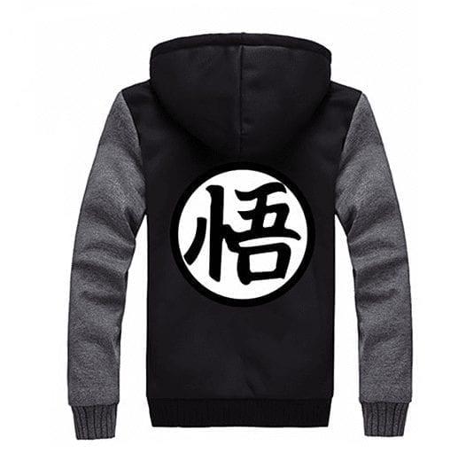 Dragon Ball Goku Cosplay Go Symbol Zipper Grey Black Hooded Jacket