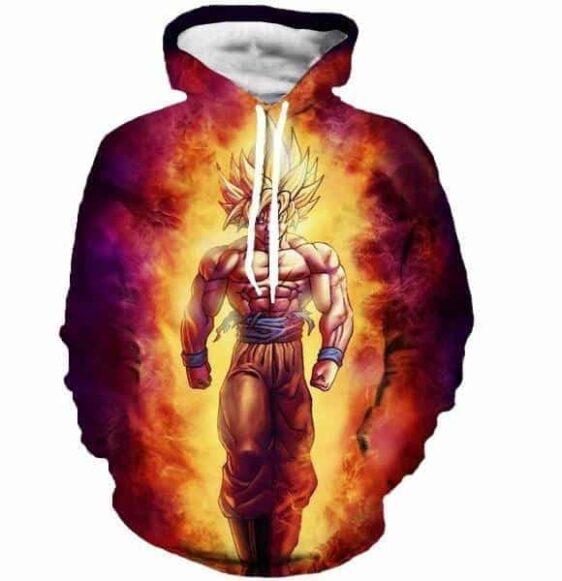 SSJ2 Son Goku Super Saiyan 2 Flame Fire 3D Cool Hoodie