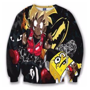 Camo Bape Cute Kid Goku SpongeBob Cool Black 3D Sweatshirt