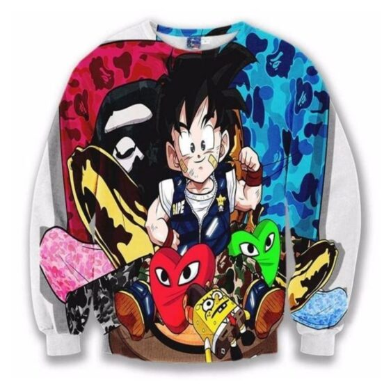 Cute Kid Goku SpongeBob Hearts Camouflage Cool Sweatshirt
