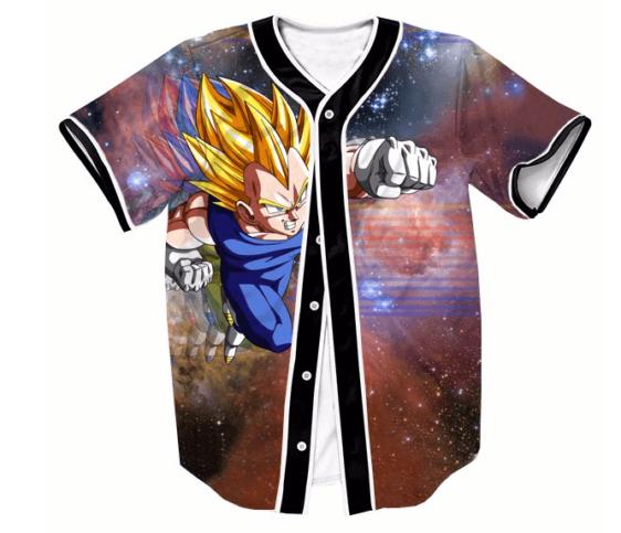 DBZ Super Saiyan Vegeta Space Galaxy Streetwear Hip Hop 3D Baseball Jersey