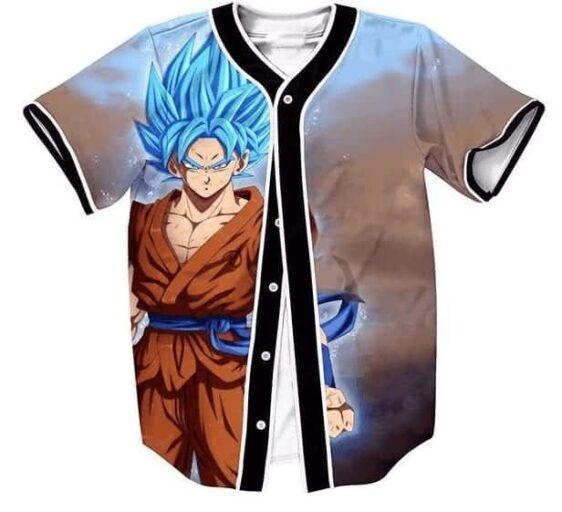 DBZ Super Saiyan Goku Blue God SSGSS Streetwear Hip Hop 3D Baseball Jersey