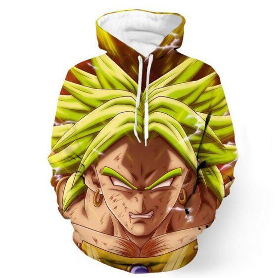 Crazy Broly Super Saiyan Attack Powerful Danger Trendy Design Pocket Hoodie