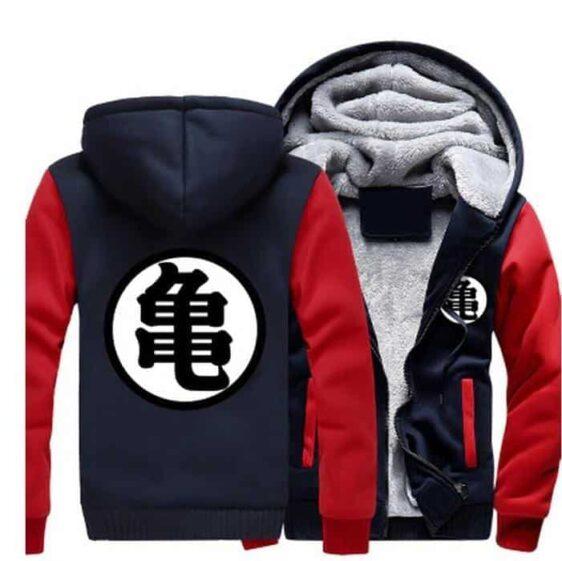 Dragon Ball Master Roshi Kanji Symbol Red Navy Zipper Hooded Jacket