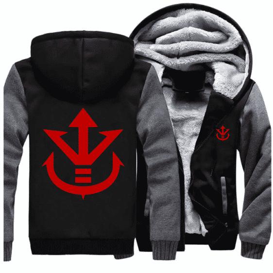 Dragon Ball Vegeta Saiyan Royal Crest Gray Black Zipper Hooded Jacket