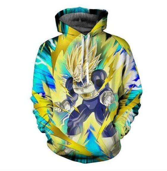 Super Saiyan Vegeta Cell Saga Battle Armor Yellow Aura DBZ 3D Hoodie
