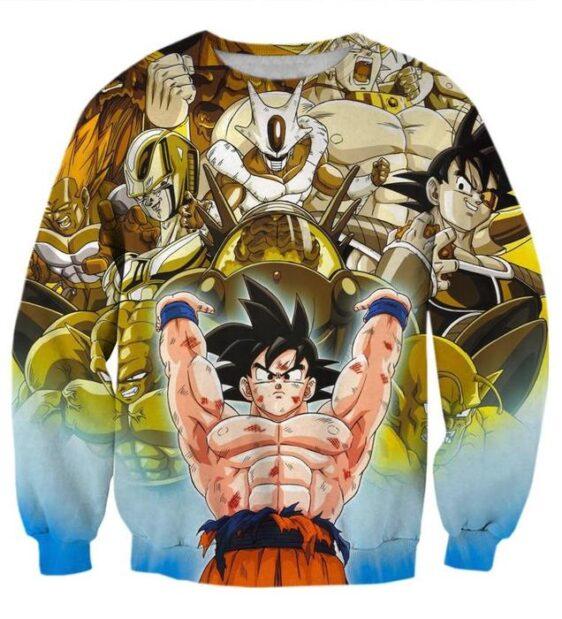 DBZ Goku Spirit Bomb Destroy Villains Cooler Broly Namek Golden Sweatshirt