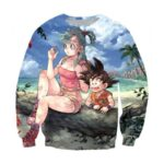 Bulma Sitting on a Tree and Kid Goku at the Beach Blue Graphic DBZ Sweatshirt