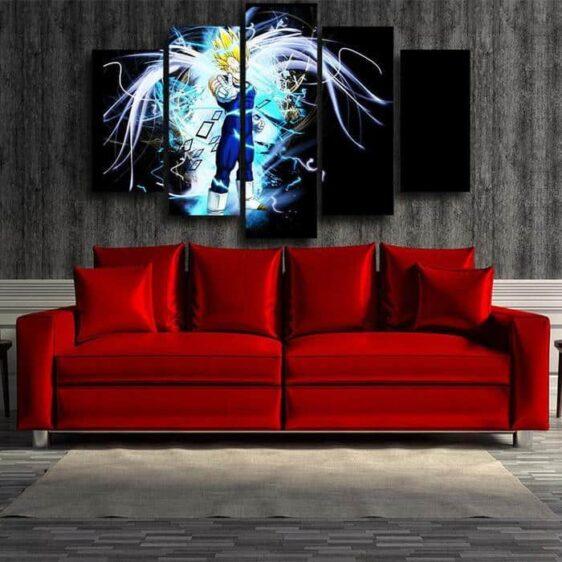 Majin Vegeta Saiyan Prince Blue Aura Decor 5pc Canvas Prints Wall Art
