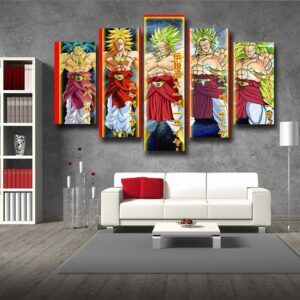 Dragon Ball Broly Saiyan Evolution 5pc Wall Art Decor Posters Canvas Prints