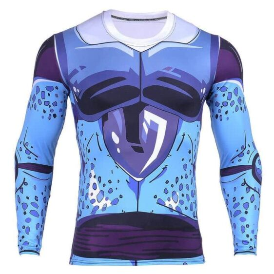 Cell Jr. Blue Skin DBZ Monster 3D Long Sleeves Compression T-Shirt