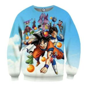 DBZ Battle Gods Goku Beerus Blue Sky Background Theme Sweatshirt