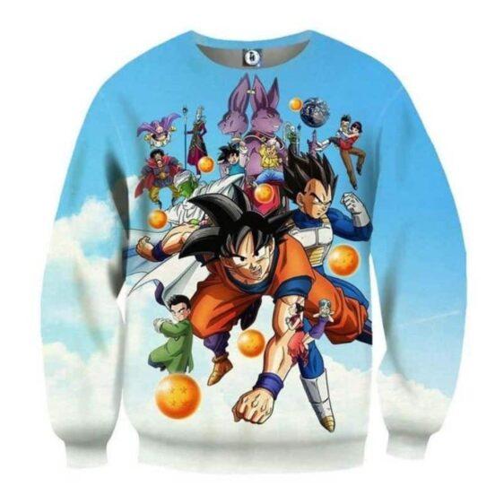 DBZ Battle Gods Goku Beerus Blue Sky Background Theme Sweatshirt