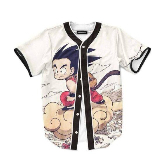 Flying Cute Kid Goku Cloud Nimbus Vintage Baseball Jersey