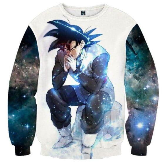 Blue Aura Evil Bad Sitting Goku Black Villain Dragon Ball Super Sweatshirt