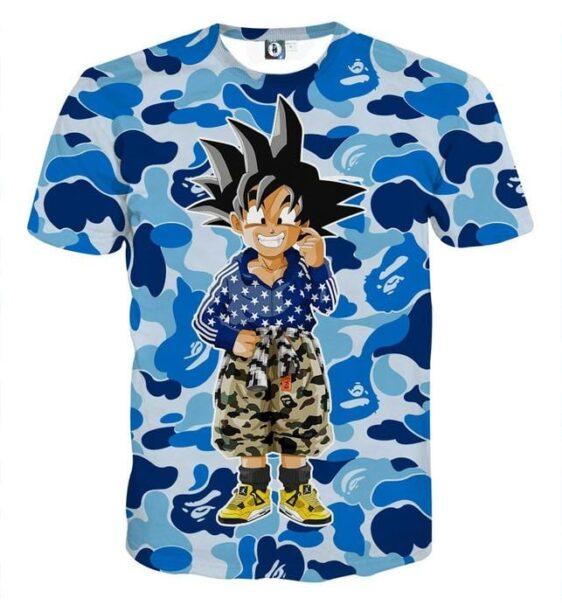 Kid Goku Hip Hop Blue Cameo Camouflage Streetwear T-shirt