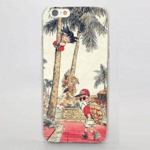 Palm Tree Cute Kid Goku Master Roshi Vintage Beige iPhone 4 5 6 7 8 Plus X Case
