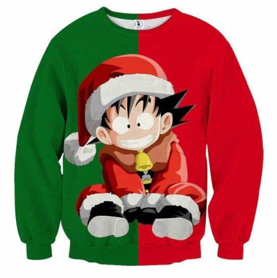 Dragon Ball Kid Goku Santa Claus Costume On Christmas Inspired Green Red Sweater