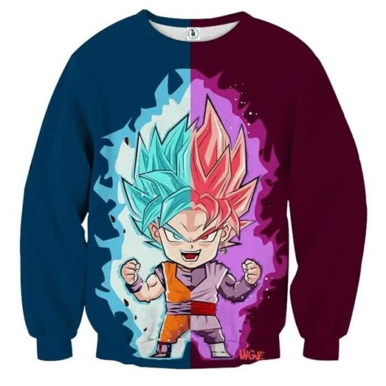 Dragon Ball Super Cute Chibi Goku Blue Goku Rose Sweater