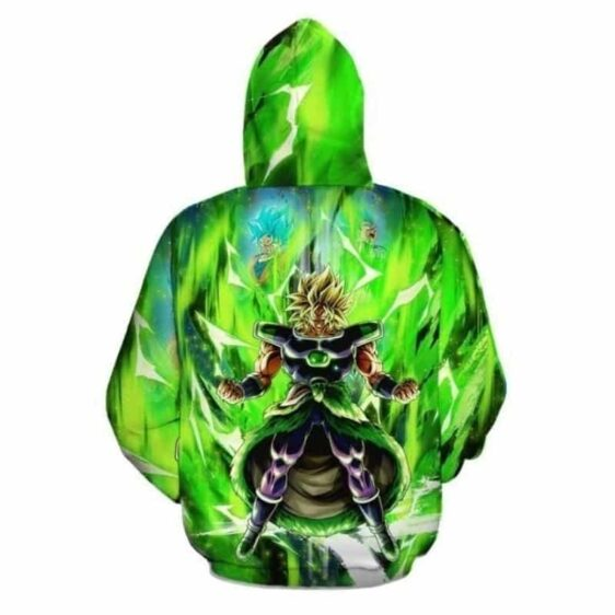 Broly With Super Saiyan Blue Goku And Vegeta Green Hoodie