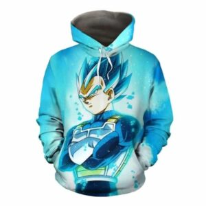 Dragon Ball Super Saiyan Vegeta Blue Flame Pullover Hoodie