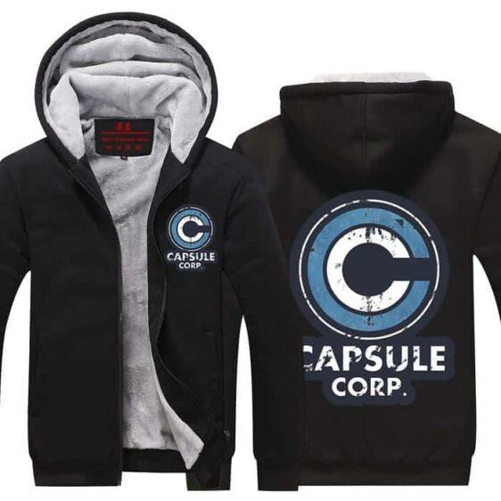 DBZ Capsule Corp Black Fashionable Zip Up Hooded Jacket