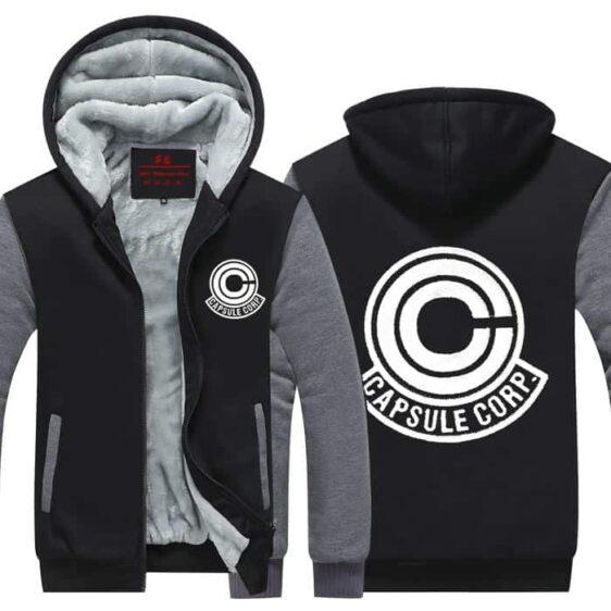 DBZ Capsule Corp Logo Black & Gray Zip Up Hooded Jacket