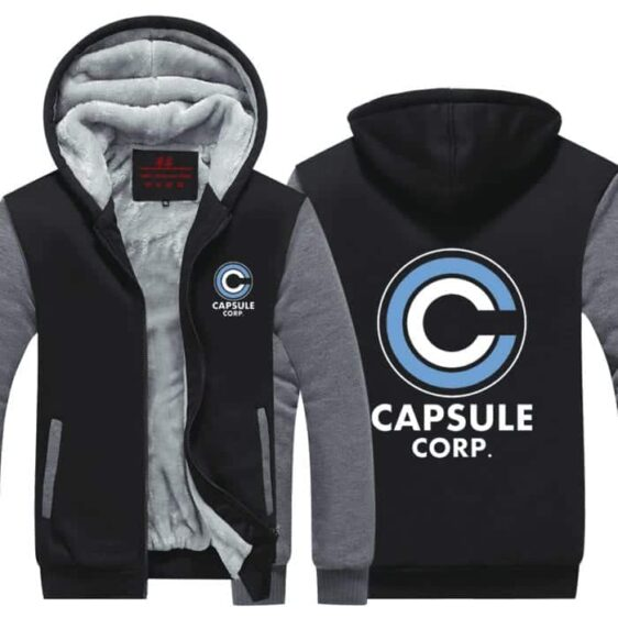 DBZ Capsule Corporation Gray & Black Zip Up Hooded Jacket