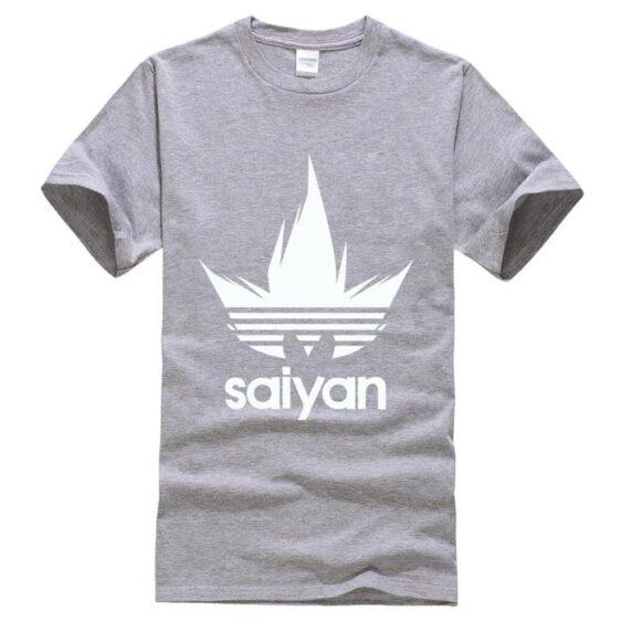 Dragon Ball Z White Saiyan Adidas Parody Print Gray T-Shirt