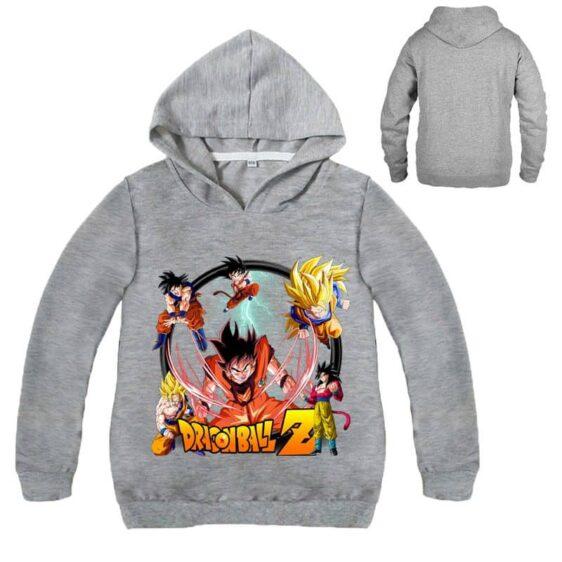 DBZ Son Goku Super Saiyan Forms Kids Long Sleeve Hoodie