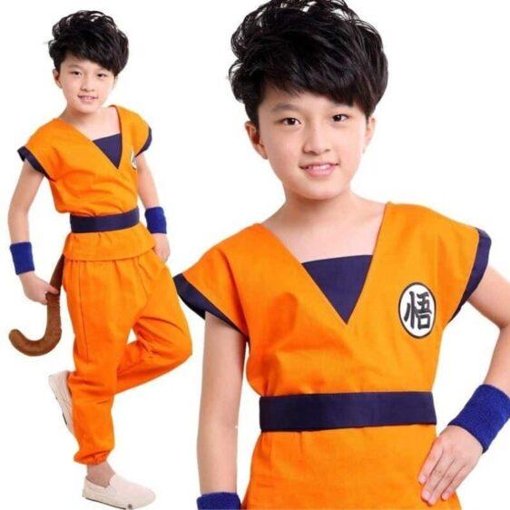 DBZ Son Goku Orange Kanji Logo Suit Cosplay Kids Outfit Set