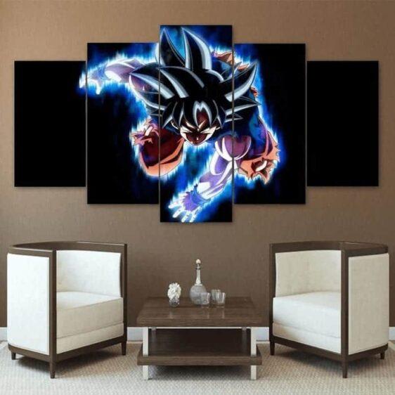 DBZ Black Attack Son Goku Blue Flame 5Pc Canvas Print