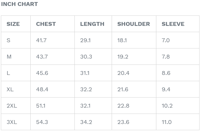 Baseball Jersey Size Chart Inch
