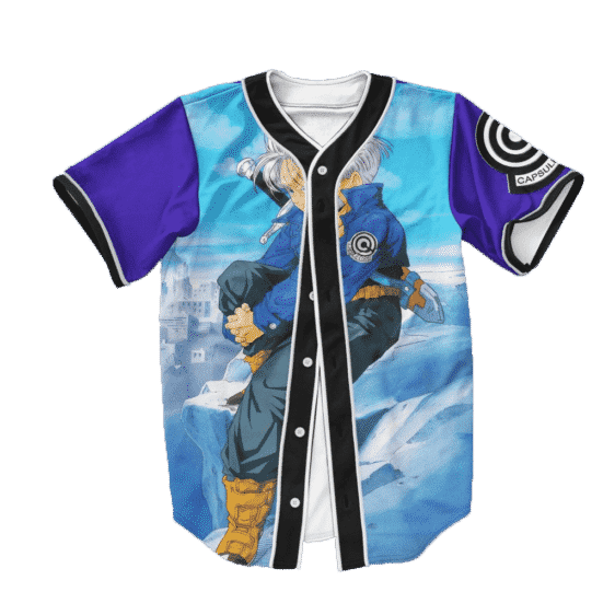 Dragon Ball Z Future Trunks Far Cool Blue Baseball Jersey