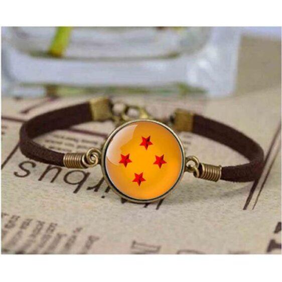 Magical Dragon Ball Star Bangle Brown Leather Bracelet