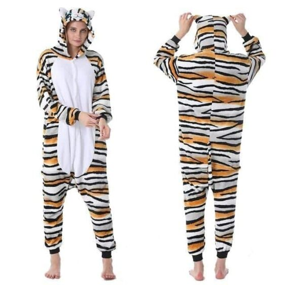 Cat Face Onesie Tiger Like Fur Design Kigurumi Pajama
