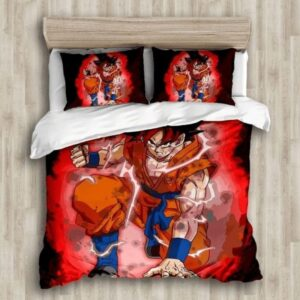 DBZ Resurrection F Son Goku Red Aura Black Bedding Set