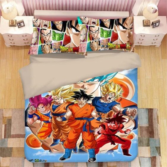 Dragon Ball Z Son Goku Super Saiyan Forms Bedding Set