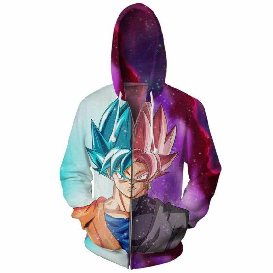 DBZ Goku SSGSS God Blue Rose Saiyan Fashion Zip Up Hoodie