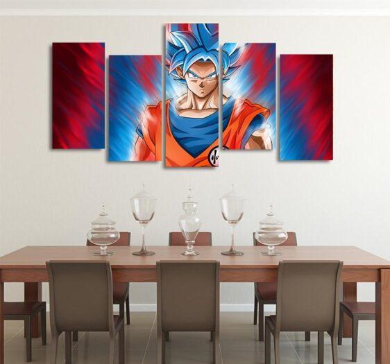 DBS Goku Limit Breaker Asymmetrical 5pcs Wall Art Canvas Print