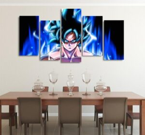 Goku Mastered Ultra Instinct Asymmetrical 5pcs Wall Art Canvas Print