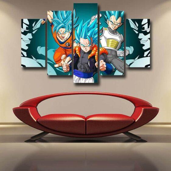 Resurrection F Goku Vegeta Super Saiyan Blue Gogeta 5pc Wall Art