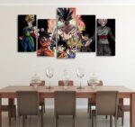 Son Goku Look-Alikes Black Asymmetrical 5pcs Wall Art Canvas Print