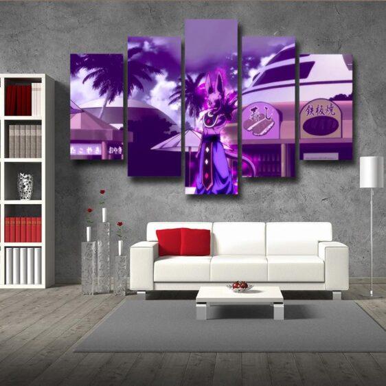 God Destruction Beerus Cool 5pc Wall Art Decor Canvas Prints