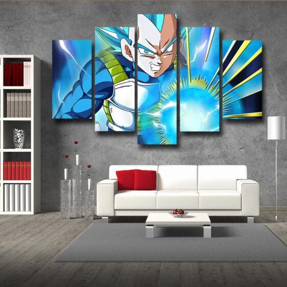 Dragon Ball Angry Vegeta Super Saiyan Blue 5pc Wall Art Decor