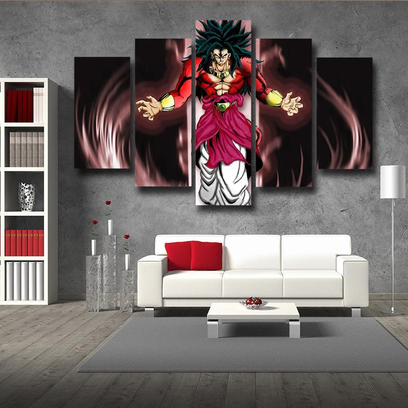 Dragon Ball Z Broly SSJ4 5 Panel Premium Wall Art Canvas Prints