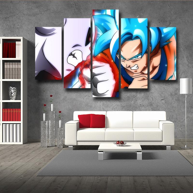 Dragonball Son Goku Super Saiyan Blue Vs Jiren Fighting Scene Premium 5 Panel Wall Art